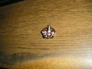 BUTLER & WILSON RED ENAMEL CROWN BROOCH - STERLING SILVER?