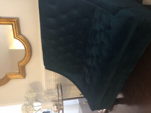 Teal High Tufted Love Seat