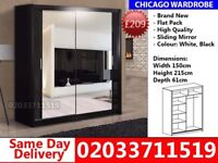 Brand New Chicago 150cm Wide Sliding Mirror Wardrobe get your order today Urbana