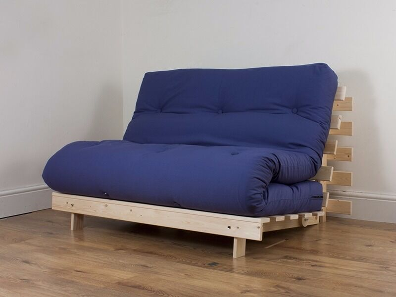 Futon Sofa Bed Large Double Fold Out Cushioned In Dark Blue
