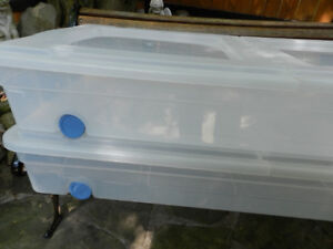 2 Flip Lid 62L Clear Storage Bins With Wheels Great for Linens!