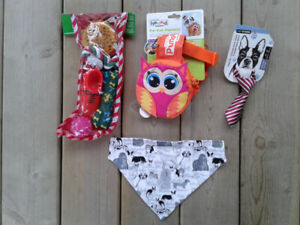 small dog harness and toys