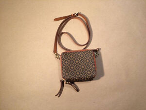 FOSSIL brown and tan small square wallet purse with long strap