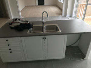 Brand New Kitchen Island w/ sink, faucet and drawers