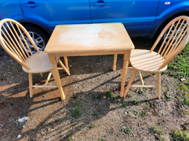 Couple's pine dining table and chairs x2