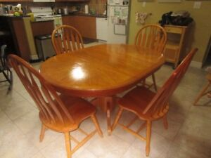 Oak Dining Table And Set Of Four Chairs