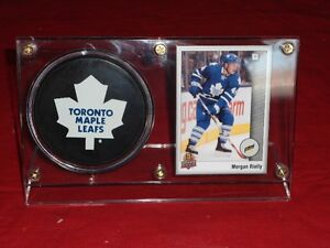 MORGAN RIELLY ROOKIE CARD AND PUCK HOLDER