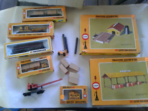 HO model train logging station/lumber yard