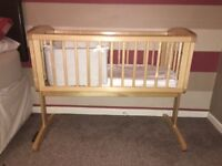 Mother care swinging crib, mattress and bedding