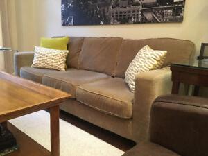 Modern Track Arm Contemporary Fabric Sofa (Used)