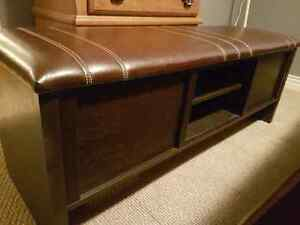 Leather Wooden Bed Bench