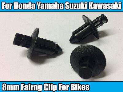 10x 8mm Plastic Rivet Bike Fairing Trim Clips For Honda Yamaha Suzuki Kawasaki