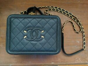 Black Chanel Filigree Vanity Bag Case Medium
