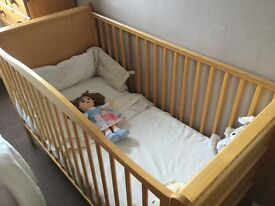 Pine Cotbed with Mattress, matching Baby change Unit & Pine Moses Basket with Rocking Stand