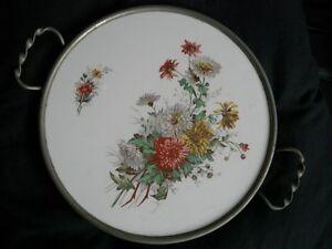 dessous de plat ancien vers 1900 motifs fleurs metal et faience signe m d ebay. Black Bedroom Furniture Sets. Home Design Ideas