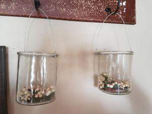 Decorative glass jar set with silver handles
