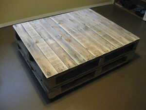 Antiqued Heavy Duty Pallet coffee table  with  caster Wheels! Williams Lake Cariboo Area image 2