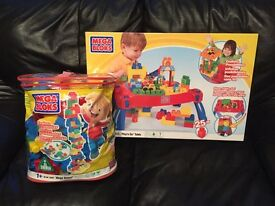 Mega Bloks table and bricks - excellent condition!