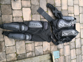 Motorbike boots, trousers and body armour