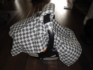 Grey & White Checkered Carseat Canopy Cover and Handle Cushion,