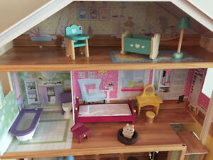 Majestic mansion dollhouse , Barbie convertible and dolls.