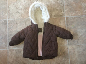 6-12 months Old Navy brown jacket, plush lined, extra soft hood