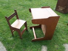 Childs wooden desk & chair