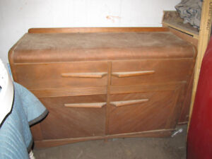 Antique Buffet , medium stain, lacquered satin.
