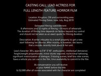 Casting Call: Lead Actress for Full Length Feature Horror Film
