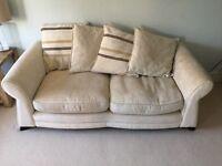 Cream DFS Sofas, cushions & Armchair £200