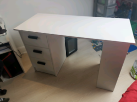 Pc computer white work station desk with drawers office home