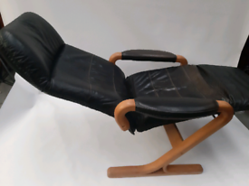 Vintage retro Danish wooden black leather recliner chair armchair