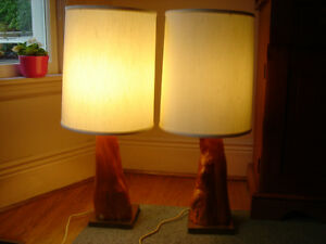 MID CENTURY CYRESS WOOD TABLE LAMPS HANDCRAFTED - TWO - London Ontario image 2