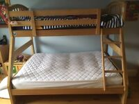 Solid Oak double bunk bed