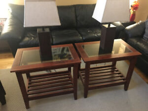 Ikea Coffee table + 2 End Tables + 2 Lamps