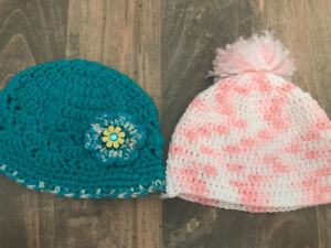 Two girl hand knit hats 6-12 months
