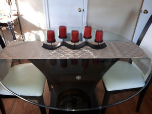 Beveled glass top table and 4 chairs
