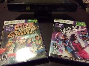Xbox 360 Kinect and 2 games