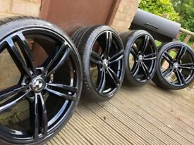 "4x BMW 3 4 5 6 7 Series 20"" M4 Style Alloy Wheels & Tyres New F30 31 32 33 34 F10 11 12 E92"
