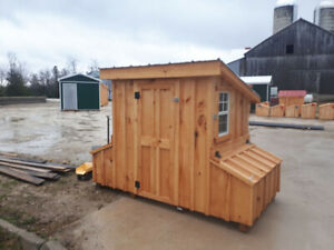 Tin roof chicken coop with laying boxes