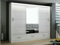 SALE ON FURNITURE-MARSYLIA 2&3 SLIDING DOORS MIRROR WARDROBE IN 208 &255 CM SIZE-CALL NOW