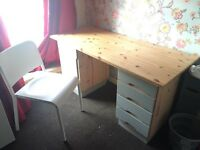 Solid pine desk with chair