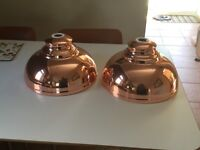 Two Copper Coloured Galley Pendant Lampshades