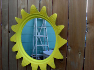 Handcrafted Eco Art Recycled TIRE Outdoor Yellow Garden Mirror