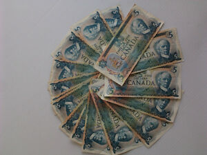 1979 Five Canadian Dollar Bills/currency/bank notes