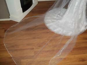 wedding dress with double veil