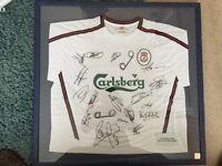 Framed Liverpool 2004 signed shirt