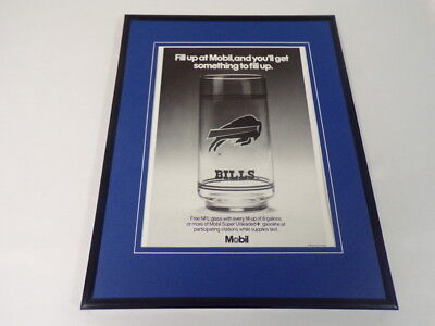 1989 Mobil Gas / Buffalo Bills 11x14 Framed ORIGINAL Vintage Advertisement