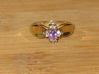 PRICE REDUCED: 10k gold diamond & amethyst ring, size 5