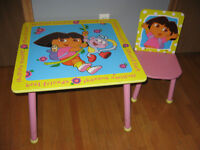 Dora the Explorer Childrens Table and Chair,Excellent
